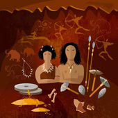 Stone age cave man and cave woman neanderthal family
