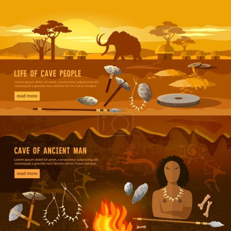 Illustration for Stone age banner. Neanderthal man in a cave, hunting for mammoth, prehistoric tool. Neolithic, paleolith, mesolith, beginning of a civilization. Caveman art - Royalty Free Image