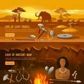 Stone age banner Neanderthal man in a cave hunting for mammoth