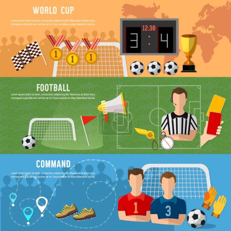 Soccer banner, football sport team signs and symbols