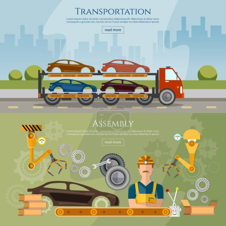 Illustration for Car assembly line banner, conveyor belt operator automotive industry, ar transport truck - Royalty Free Image