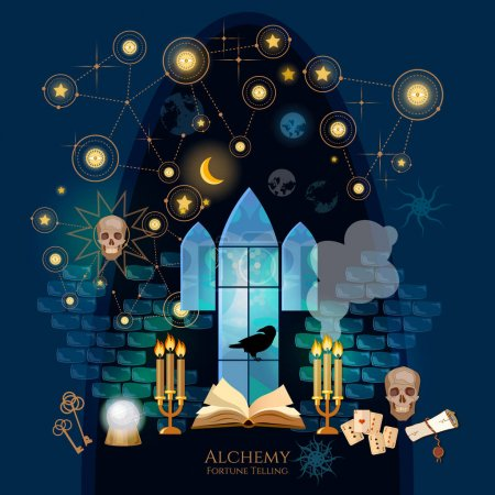 Illustration for Medieval alchemical laboratory. Vintage key, magic objects and scrolls, alchemy concept. Open book of spells, skull, occult and esoteric. Fortune telling, Crystal Ball, medieval castle wizard - Royalty Free Image
