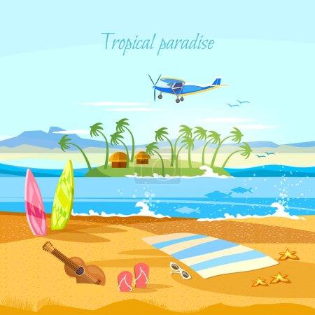 Tropical island, paradise rest. Travel to Hawaii, Tahitii