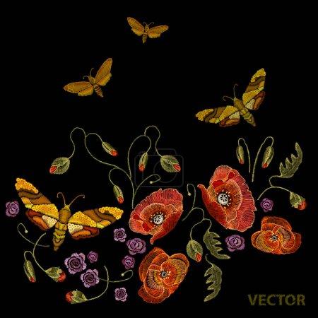 Illustration pour Modèle de broderie classique hirondelle fleurs pivoines. Modèle vectoriel broderie, coquelicots et papillons - image libre de droit