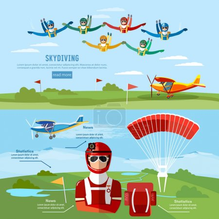 Illustration pour Parachutisme sport extrême de bannière travail d'équipe. Skydiver saute d'un vecteur d'avion - image libre de droit