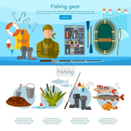 Summer fishing, professional fisher infographics and elements