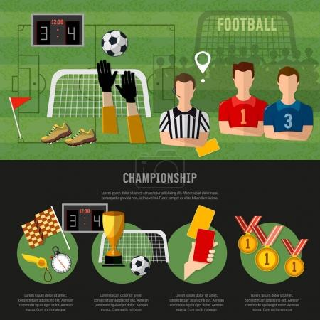 Soccer infographic, football team, signs and symbols