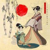 Beautiful japanese geisha girl Geisha ancient Japan