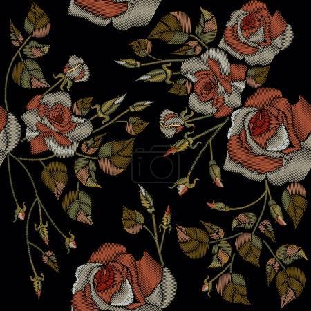 Illustration pour Vintage roses broderie motif sans couture sur un fond noir. broderie de style classique, de belles roses fleurs dessin à la main modèle - image libre de droit