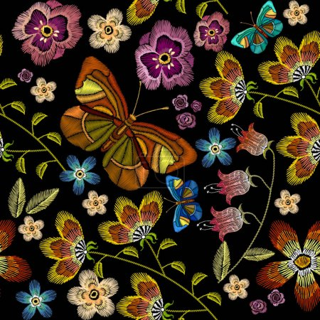 Embroidery flowers and butterflies seamless pattern