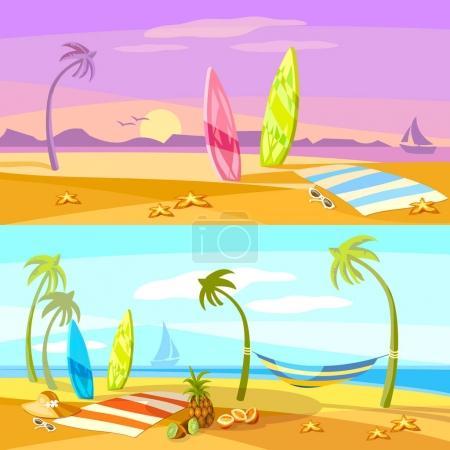 Summer holiday sunset beach scene vector cartoon