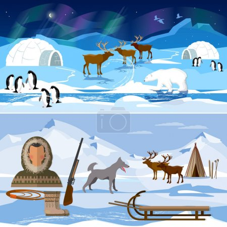Illustration for Extreme journey to Alaska. Life in the far north. Wild north arctic pople in traditional eskimos costume and arctic animals - Royalty Free Image