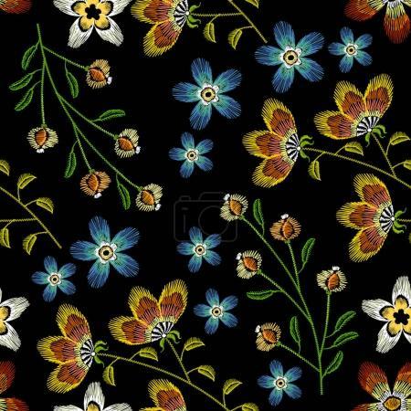 Cornflowers embroidery seamless pattern. Beautiful spring flower