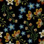 Cornflowers embroidery seamless pattern. Beautiful...