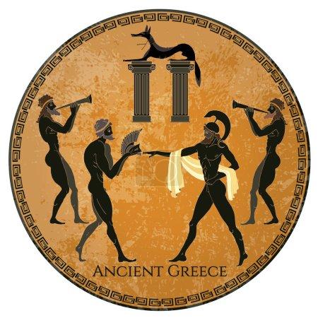 Ancient Greece scene. Black figure pottery