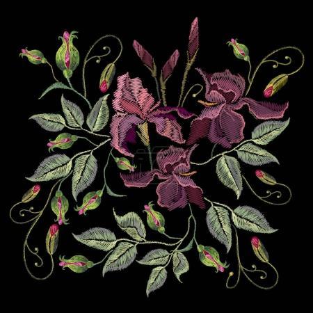 Illustration pour Iris de broderie. Beaux iris violets printemps sur fond noir, modèle de broderie - image libre de droit