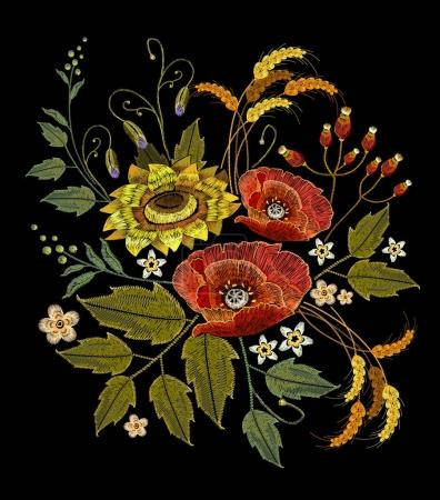 Embroidery sunflowers, roses, flowers, wheat. Beautiful bouquet