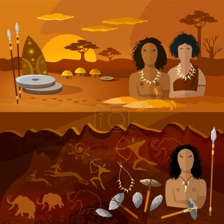Illustration for Stone age, neanderthal family in a cave, prehistoric tool. Neolithic, paleolith, mesolith, beginning of a civilization. Caveman art. Cave man and cave woman banner - Royalty Free Image