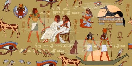 Egyptian gods and pharaohs seamless pattern. Ancient Egypt