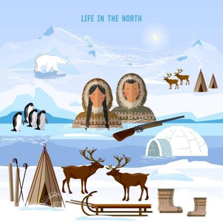 Wild north arctic people in traditional eskimos costume