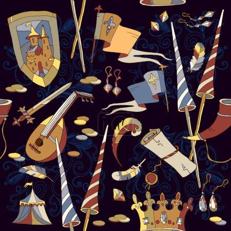 Medieval seamless pattern, medieval sword, crown