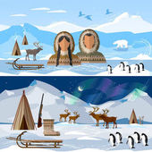 Wild north arctic banner people in traditional eskimos costume