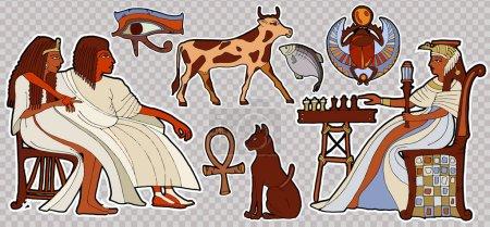 Fashion patch Ancient egypt. Pharaoh, scarab, ankh, cat, chess