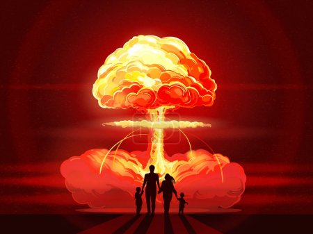 Illustration for Nuclear explosion. Atomic bomb in city. Family silhouette against background of atomic explosion.  Symbol of nuclear war, end of world, aggression, cruelty of the world - Royalty Free Image