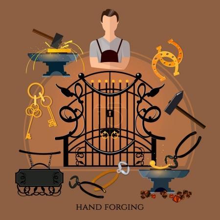 Illustration pour Vecteur de forgeron professionnel. Forgeage sur glande, création de clôtures en fer et de clôtures. Sidérurgie. Marteau forgeron et enclume, travail en forge - image libre de droit