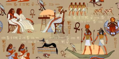Egyptian gods and pharaohs seamless pattern