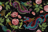 Embroidery chinese dragons and flowers peonies seamless pattern