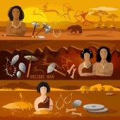 Cave man and cave woman banner Stone age neanderthal family