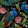 Embroidery peacocks and flowers peonies seamless p...