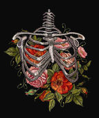 Embroidery human rib cage with red roses Gothic embroidery