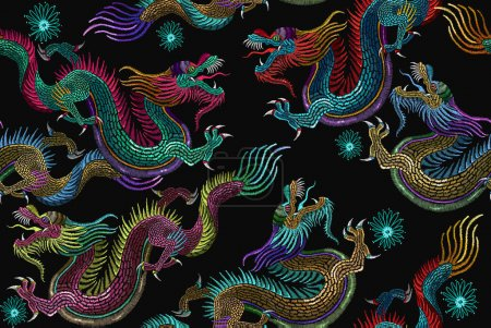 Embroidery chinese dragons seamless pattern. Art d...