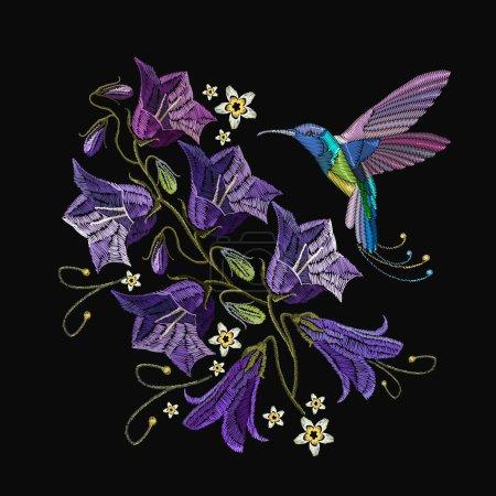 Illustration pour Broderie fleurs violettes cloches et colibri oiseau. Beaux bleuets violets et colibri, broderie d'art classique. Modèle à la mode pour la conception de vêtements - image libre de droit
