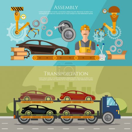 Illustration for Car assembly line, conveyor belt, car transport truck on the road, production and sale of cars banner - Royalty Free Image