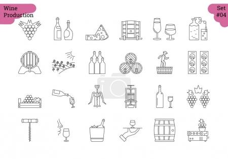 Linear icon set 4 - WINE PRODUCTION