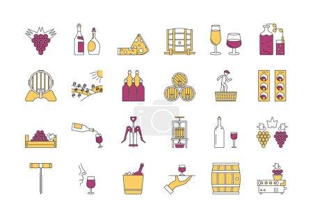 Linear COLOR icon set 4 - Wine production