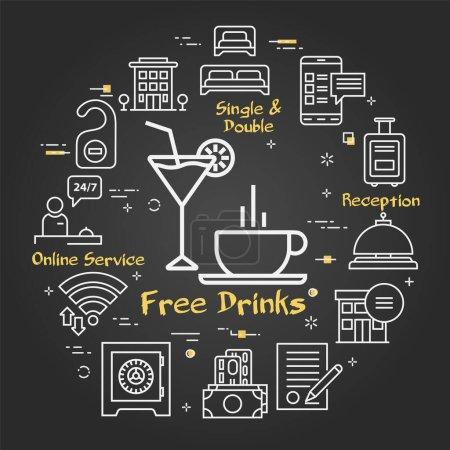 Foto de Vector black modern square concept of free drinks in hotel. Los iconos de negocios de los hoteles de línea dispuestos en un círculo. Edificio del hotel, caja fuerte, reserva de habitaciones y diferentes servicios. - Imagen libre de derechos