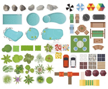 Illustration for Set Landscape elements, top view. Garden, tree, lake, swimming pools, bench, table - Royalty Free Image