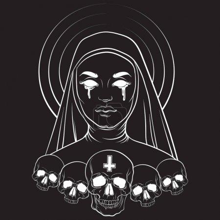 Vector illustration of blind nun with human skull ...