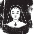 Vector illustration of nun with cross made in hand...