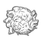 Vector illustration of young beautiful girl with angry wolf's muzzle