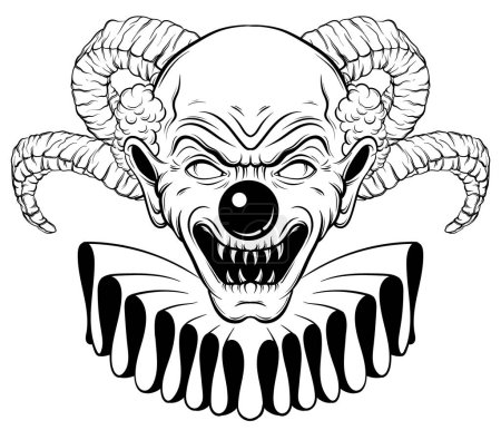 Illustration for Vector hand drawn  illustration of angry clown with horns. Tattoo artwork in realistic line style. Portrait of ugly clown.  Template for card, poster, banner, print for t-shirt. - Royalty Free Image