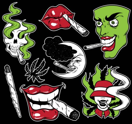 Illustration for Vector fashion patch badges set with lips, skull, roll-up, face and marijuana. Patches, pins, stickers made in hand drawn cartoon style. Weed stickers collection. - Royalty Free Image