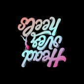 Head over heels Vector handwritten lettering Quote typographical background Template fro card poster banner print for t-shirt