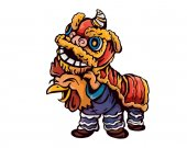 Cute Chinese New Year 2017 Rooster Character Preparing For The Dragon Dance Show Illustration