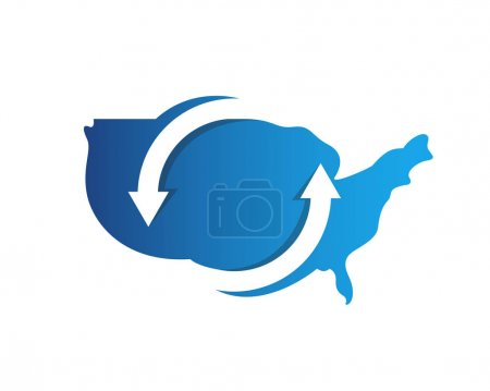 Modern Creative American Map Logo - American Blue Recycle Technology