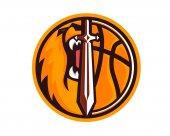 Modern Animal Sports Team Badge Logo - Lion Basketball Team With Sword Symbol